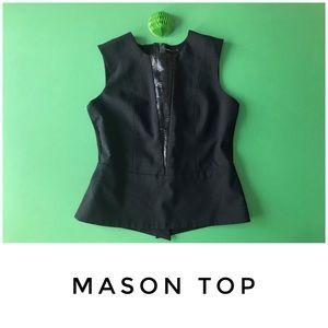 Mason top size 6 black peplum accent leather